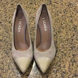ESCADA Suede Pumps with Patent Leather Toe